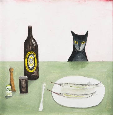 Cat at table, 2014 by Noel McKenna