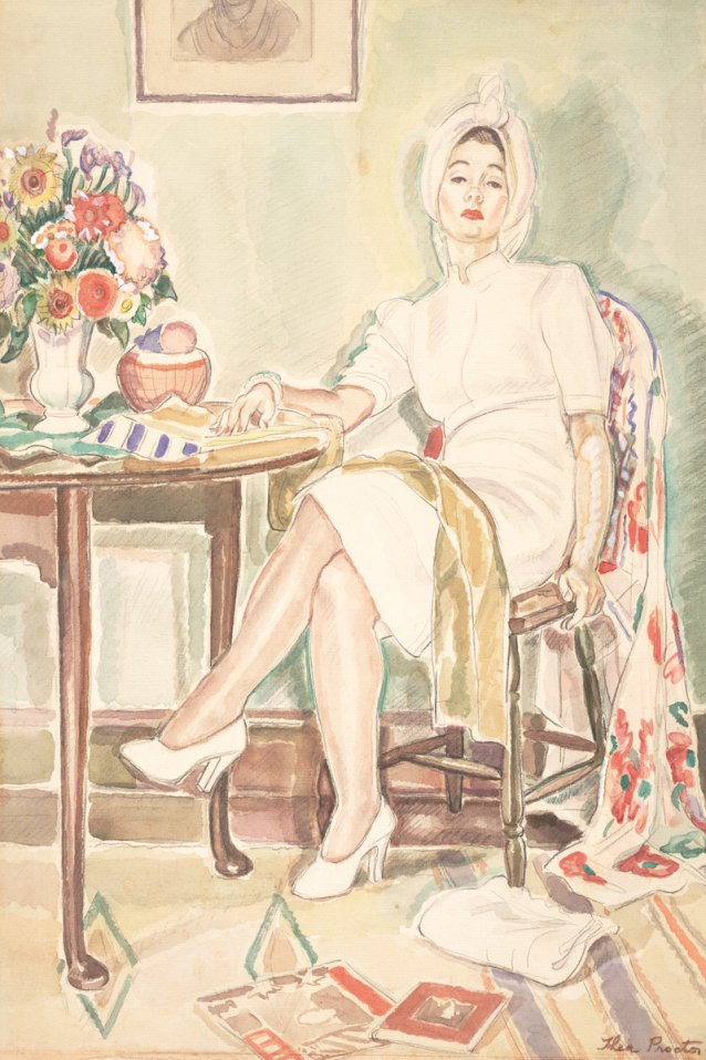 Woman in white, c. 1942 by Thea Proctor
