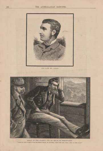 Kelly in the Guard's Van en route to Beechworth (from The Australasian Sketcher, 17 July 1880) by The Australasian Sketcher, Tom Carrington, The Australasian Sketcher