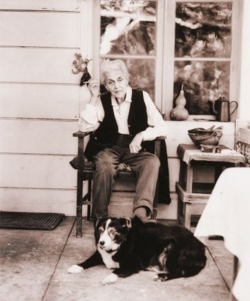 Nora Heysen with her dog sitting outside her home, Hunters Hill, Sydney, 2000 Sage