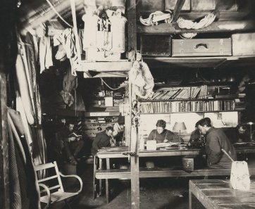 Interior of Commonwealth Bay living hut (L-R) Mertz, McLean, Madigan, Hunter and Hodgeman, 1912 Frank Hurley
