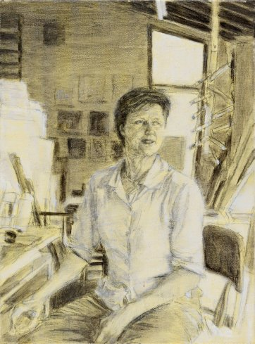 Study (a) for portrait of Helen Garner, 2003 by Jenny Sages