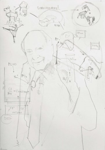 "Study for commissioned portrait, ""Equation of life - a portrait of Professor Derek Denton"", 2016 Evert Ploeg"