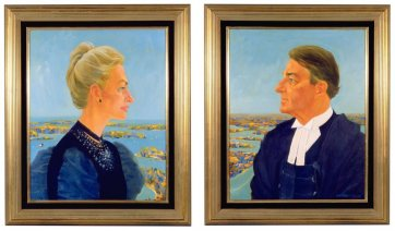 Neville and Jill Wran - as the Duke and Duchess of Sydney (with apologies to Piero della Francesca), 1983 by Frank Hodgkinson