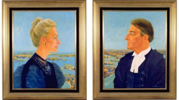 Neville and Jill Wran - as the Duke and Duchess of Sydney (with apologies to Piero della Francesca), 1983 Frank Hodgkinson