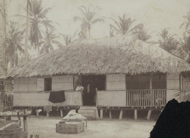 Cosmo Clunies Ross' bungalow at Home Island, Cocos Island, ca. 1915