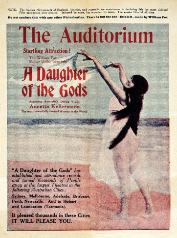 Cinema advertisement for A Daughter of the Gods, c. 1917