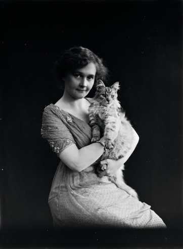 Miss Sheila Sutherland, with cat by Ruth Hollick
