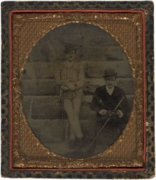 William St Leonards Robertson (standing) beside an unidentified man, early 1880s an unknown artist
