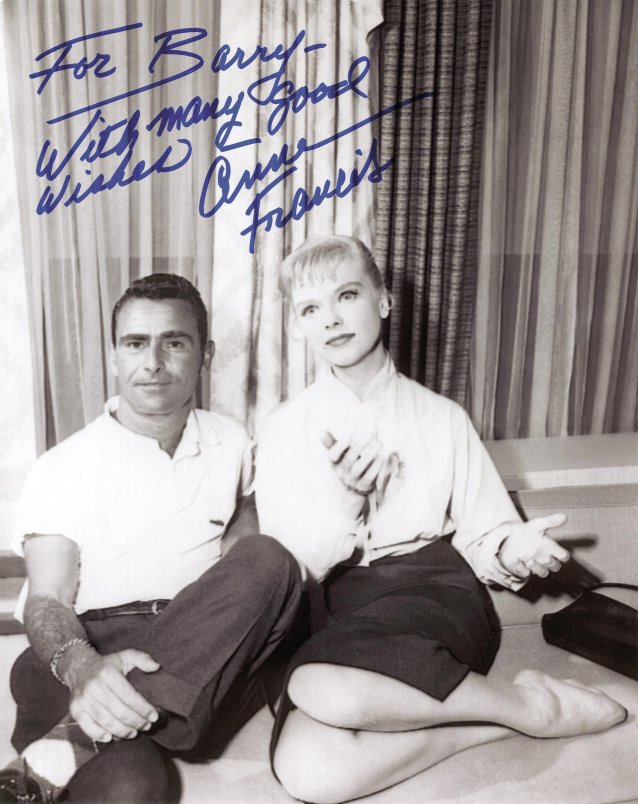 Anne Francis (Twilight Zone mannequin) and Rod Serling