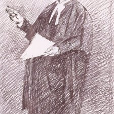 Preparatory study for the portrait of the Hon Tom Hughes QC, 2001 by Jiawei Shen
