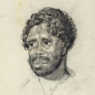 Portrait of Culaba, an indigenous Australian man and husband of Punch, looking down slightly to left, 1834