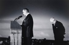 President Johnson and Prime Minister Holt at Canberra Airport, 1966 (printed 2000) by David Moore
