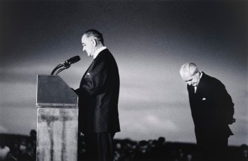 President Johnson and Prime Minister Holt at Canberra Airport, 1966 (printed 2000) David Moore