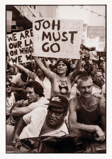 Clarrie Grogan NQLC and marchers at illegal march for land rights before Commonwealth Games, Brisbane, 1982 Juno Gemes
