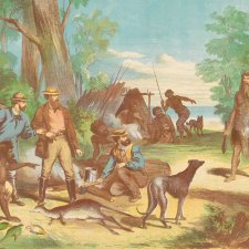 Buckley discovering himself to the early settlers, 1869 S Calvert, Gibbs, Shallard and Co. after O.R. Campbell