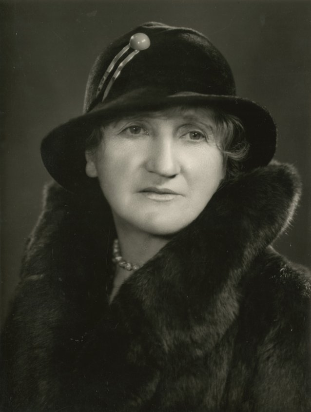 Marie Bjelke Peterson wearing fur coat and cloche hat ,1930s by Athol H Shmith