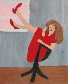 Untitled (girl on chair with red shoes) by Violet Frisby