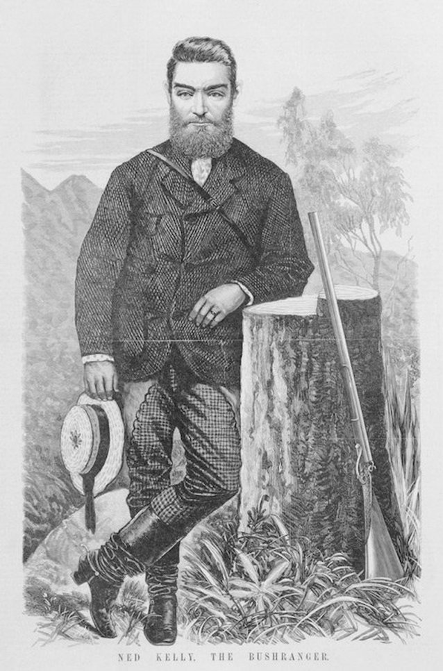 Ned Kelly the Bushranger (from The Australasian Sketcher, 7 August 1880)