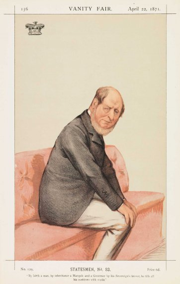 "Statesmen No.83 Marquis of Normanby ""By birth a man, by inheritance a Marquis and a Governor by his Sovereign's favour, he fills all his positions with credit"" (Image plate from Vanity Fair), 1871 by Carlo Pellegrini"