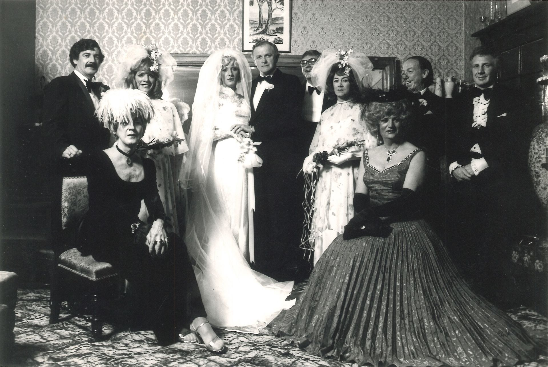 Max, Claudia, Jamie, Lex, Phil, Alice, Roy, John, Lady Paula Howard (lower left) and Lottie (lower right) at Jamie and Lex's wedding, Kew, Melbourne, c. 1970s Unknown artist