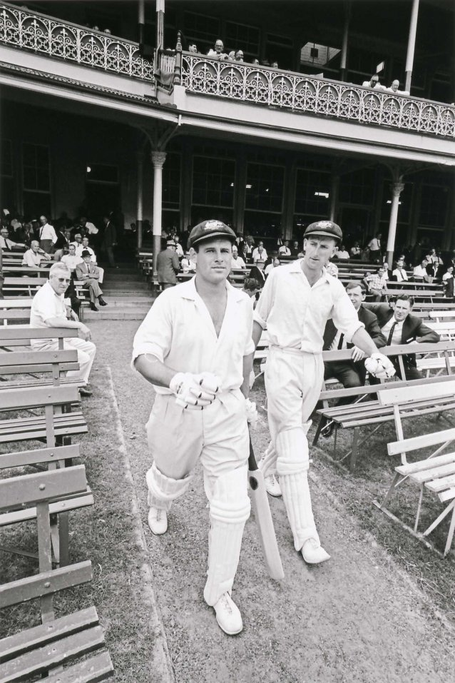 Norman O'Neill and Bill Lawry coming out to bat for Australia vs South Africa at the Sydney Cricket Ground