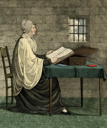 In prison and ye came unto me [Portrait of Elizabeth Fry, Newgate Prison], 1820 by Richard Dighton