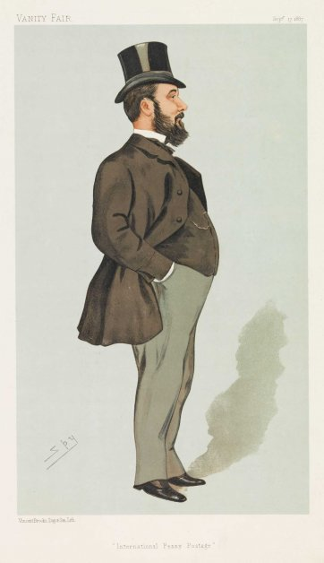 """International Penny Postage""  Mr John Henniker Heaton MP (Image plate from Vanity Fair), 1887 by Sir Leslie Ward"