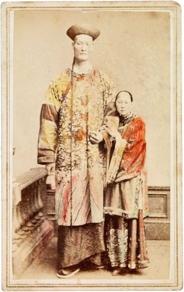 Chang the Chinese giant with his wife Kin Foo, c. 1871 an unknown artist