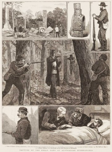 Capture of the Kelly Gang of Australian Bushrangers.- 1. Ruins of Jones's Hotel, Glenrowan where the outlaws were besieged by the Police.- 2. Ned Kelly's Suit of Armour.- 3. Policeman in Bush Costume.- 4. Ned Kelly at Bay.- 5. A Black Tracker.- 6. Ned Kelly in the goal Hospital at Melbourne., 1880 The Graphic