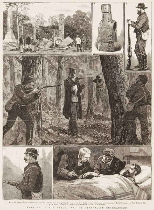 Capture of the Kelly Gang of Australian Bushrangers.- 1. Ruins of Jones's Hotel, Glenrowan where the outlaws were besieged by the Police.- 2. Ned Kelly's Suit of Armour.- 3. Policeman in Bush Costume.- 4. Ned Kelly at Bay.- 5. A Black Tracker.- 6. Ned Kelly in the goal Hospital at Melbourne.