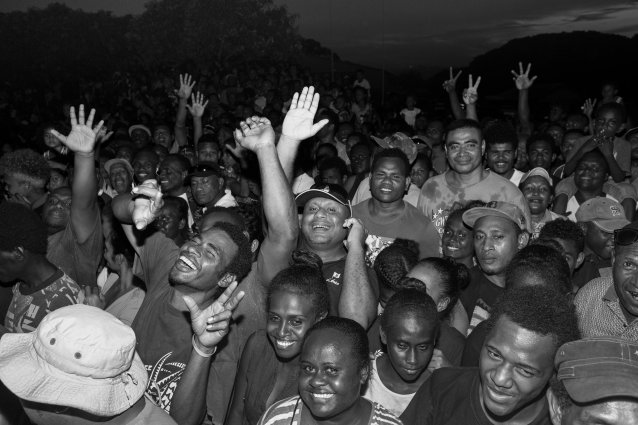 Crowd at the RAMSI official closing ceremony, Lawson Tama Stadium, Honiara by Sean Davey