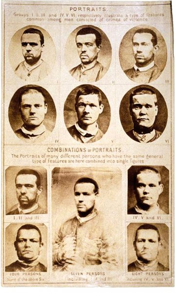 "Composite portraits showing ""features common among men convicted of crimes of violence"", 1885"