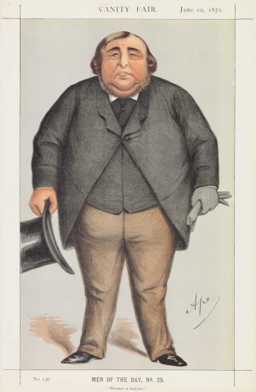 """Baronet or Butcher"" Sir Roger Doughty Tichborne (Image plate from Vanity Fair), 1871 by Carlo Pellegrini"