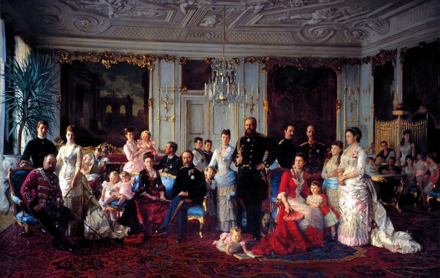 Christian IX and his family in the Garden Room at Fredensborg, 1883 by Laurits Tuxen
