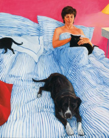 Self Portrait, in bed with the animals, 1999 by Kristin Headlam