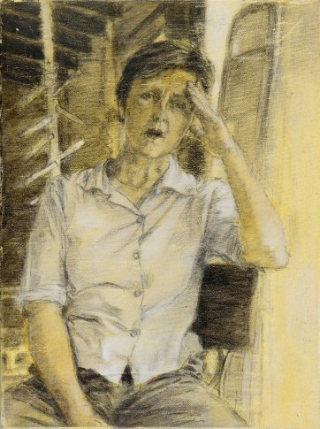 Study (b) for portrait of Helen Garner, 2003 by Jenny Sages