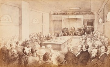 Opening of the First Legislative Council of Victoria, by Governor Charles Joseph LaTrobe, at St Patrick's Hall, Bourke Street West, Melbourne. November 13th 1851. From sketches taken at the time by William Strutt., 1883 by John Noone after William Strutt