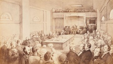 Opening of the First Legislative Council of Victoria, by Governor Charles Joseph LaTrobe, at St Patrick's Hall, Bourke Street West, Melbourne. November 13th 1851. From sketches taken at the time by William Strutt., 1883 John Noone after William Strutt