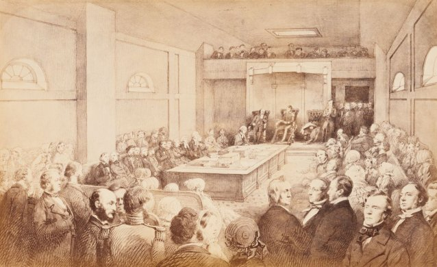 Opening of the First Legislative Council of Victoria, by Governor Charles Joseph LaTrobe, at St Patrick's Hall, Bourke Street West, Melbourne. November 13th 1851. From sketches taken at the time by William Strutt.