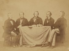 The first ministry under responsible government in New South Wales ( Thomas Holt, Treasurer; Sir William Manning, Attorney General; Sir Stuart Donaldson, First Premier of New South Wales; Sir John Darvall, Solicitor General; and George Nichols, Auditor General)., 1856 Freeman Brothers
