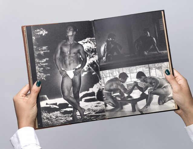 Left page: Hitoshi Kato. Right page: Shigeo Sakai (l) and Hitoshi Kato (r) – both top and bottom from Young Samurai – Bodybuilders of Japan Photography by Tamotsu Yato