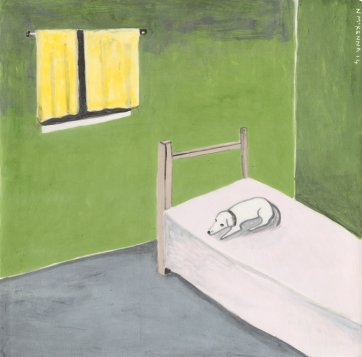 Dog on bed, 2014 by Noel McKenna