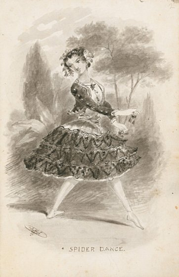 Spider dance, from Sketches of visiting actors and actresses, 1855