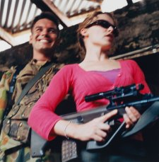 Untitled #88 from Tour of Duty series (Captain Brad Kilpatrick and Kylie Minogue , Balibo, East Timor, 20 December 1999) by Matthew Sleeth