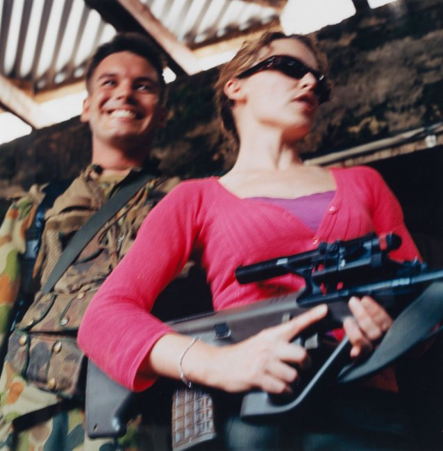 Untitled #88 from Tour of Duty series (Captain Brad Kilpatrick and Kylie Minogue , Balibo, East Timor, 20 December 1999)