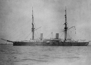 Royal Navy Armoured Cruiser Imperieuse as built with two masts, 1883
