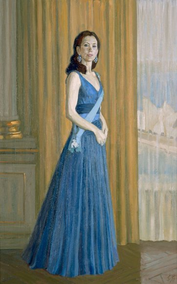 Study for commissioned portrait of HRH Crown Princess Mary of Denmark (full-length study), 2005 by Jiawei Shen