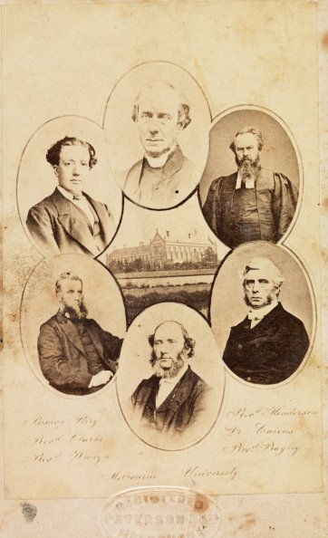 Melbourne University with six portraits of Melbourne Anglican clergymen; Bishop Perry, Rev Clarke, Rev. Waugh, Rev. Henderson, Rev. Dr Cairns, Rev. Bailey, c. 1871 Paterson Brothers
