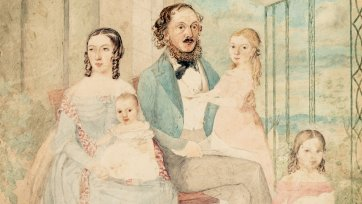 The artist and her family, c. 1854 by Martha Berkeley